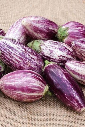 gestreepte aubergine op een ondergrond van jute