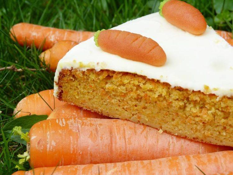 stuk worteltaart op wortelen in het gras