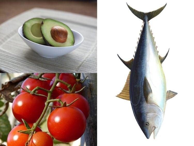 courgette tomaat en tonijn gecombineerd tot een afbeelding